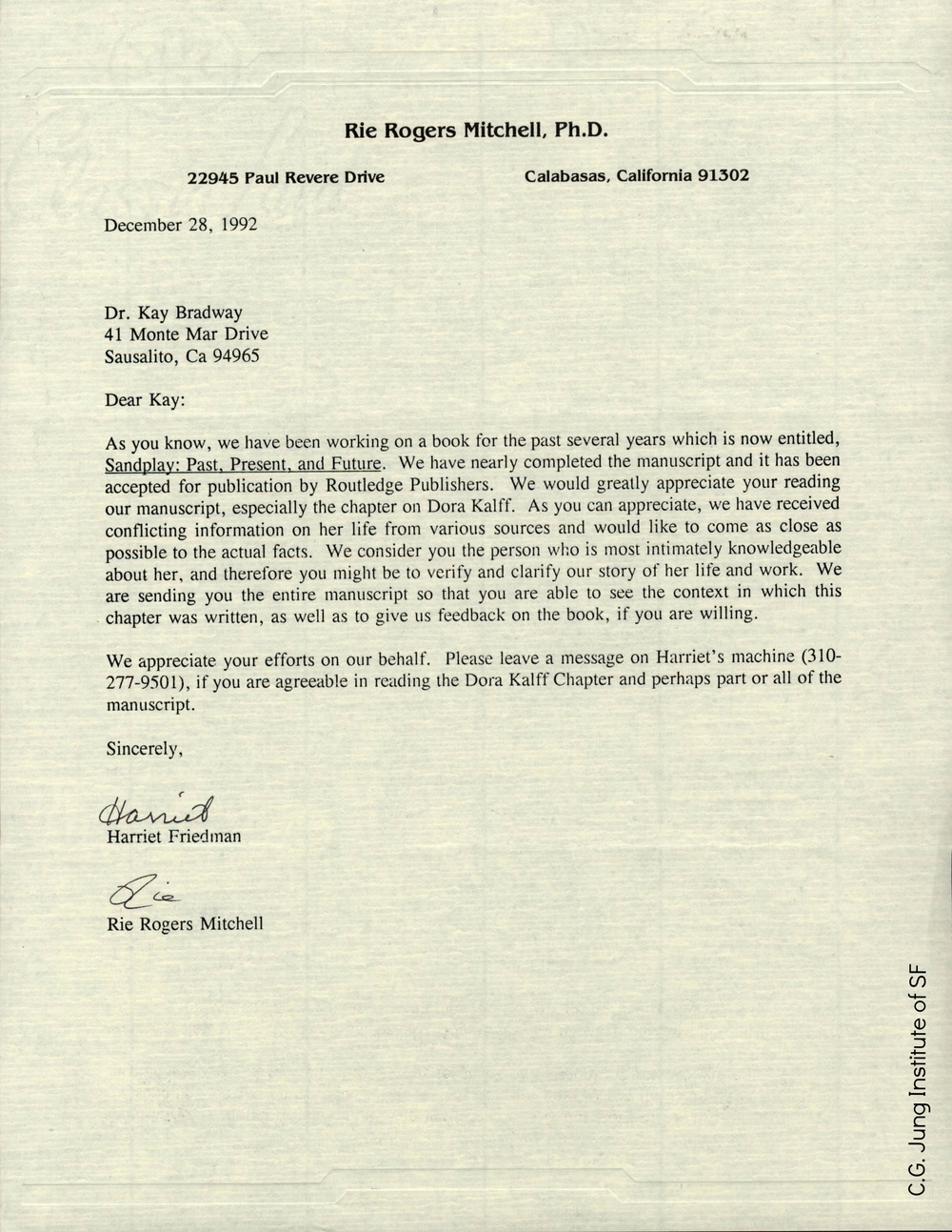 Letter requesting Kay's review of chapter on Dora Kalff in Sandplay: Past, Present, and Future (1992).
