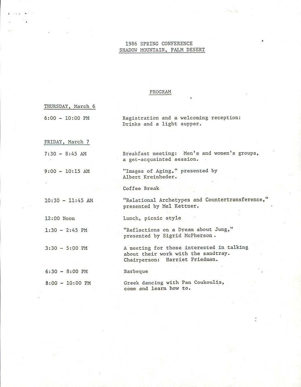 Program for 1986 Spring Conference