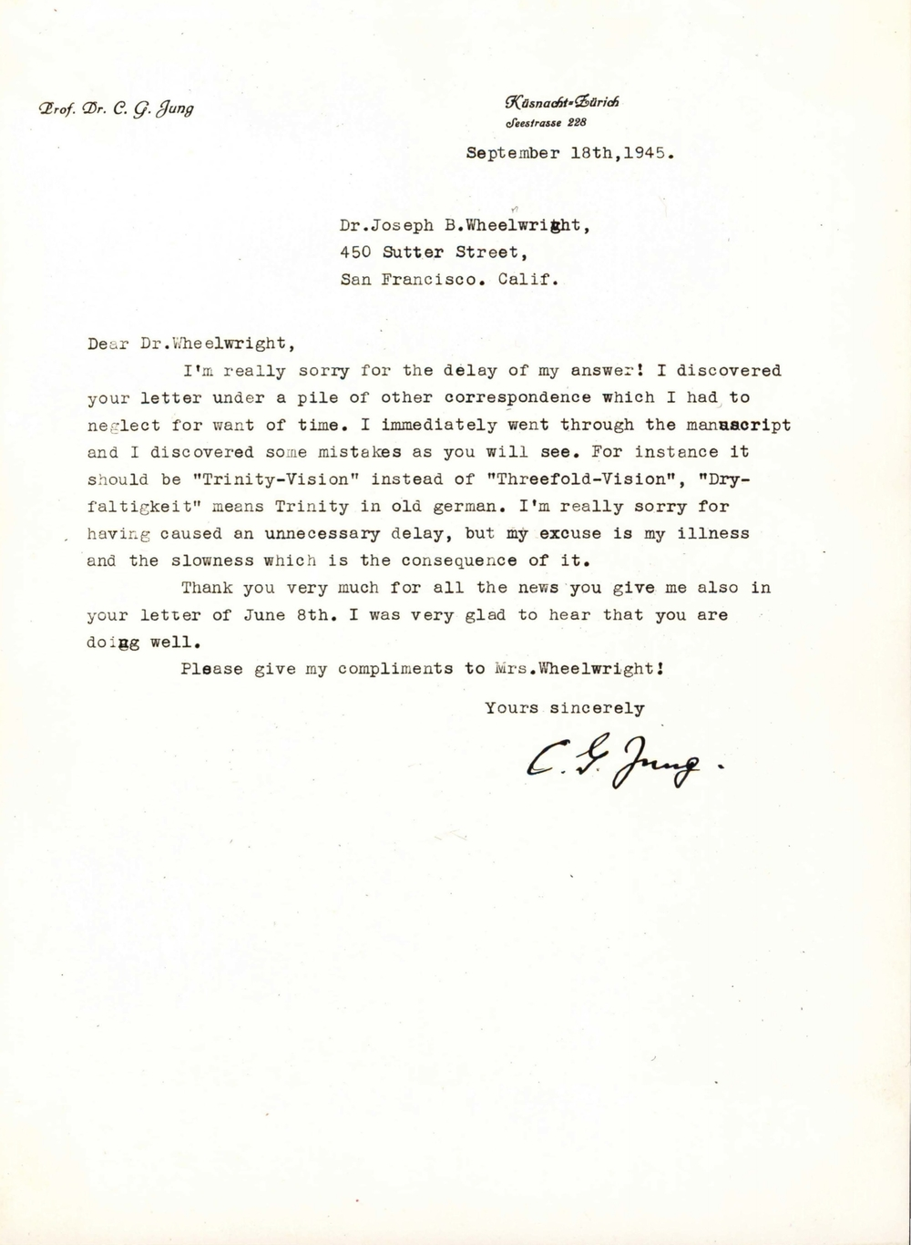 Letter from C.G. Jung to Joseph Wheelwright (September 1945)