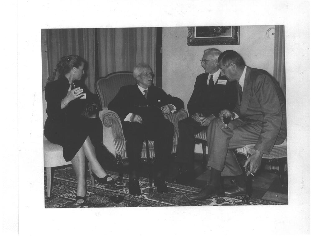 (L to R): Erica Schweizer, C.G. Jung, John Layard, Jo Wheelwright (1958)