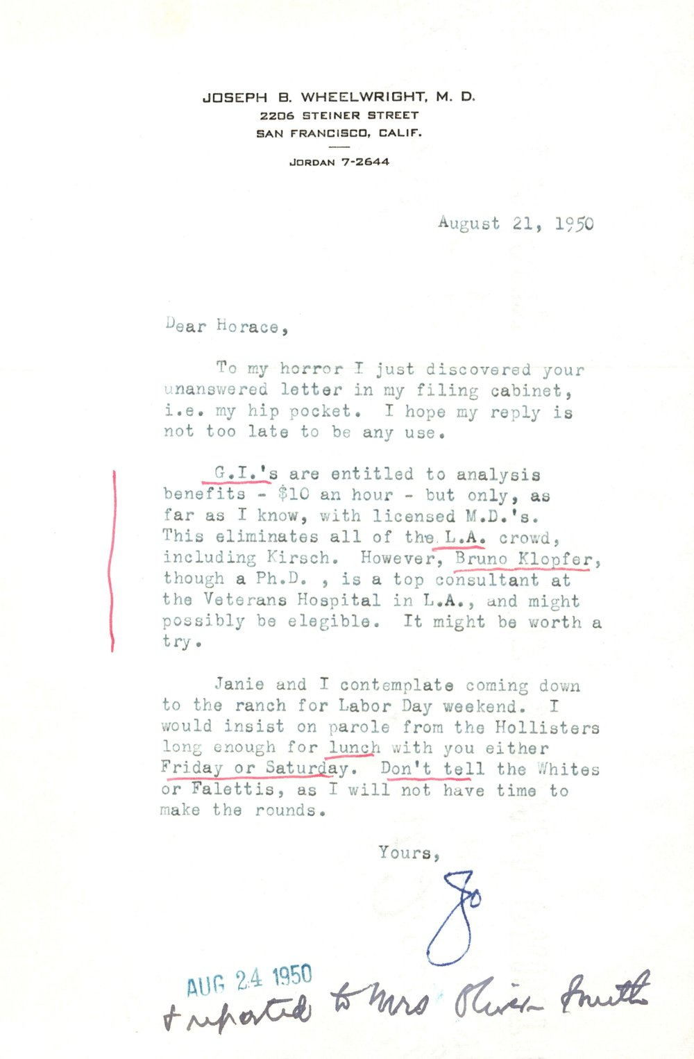 Letter from Jo Wheelwright to Horace Gray (August 21, 1950)