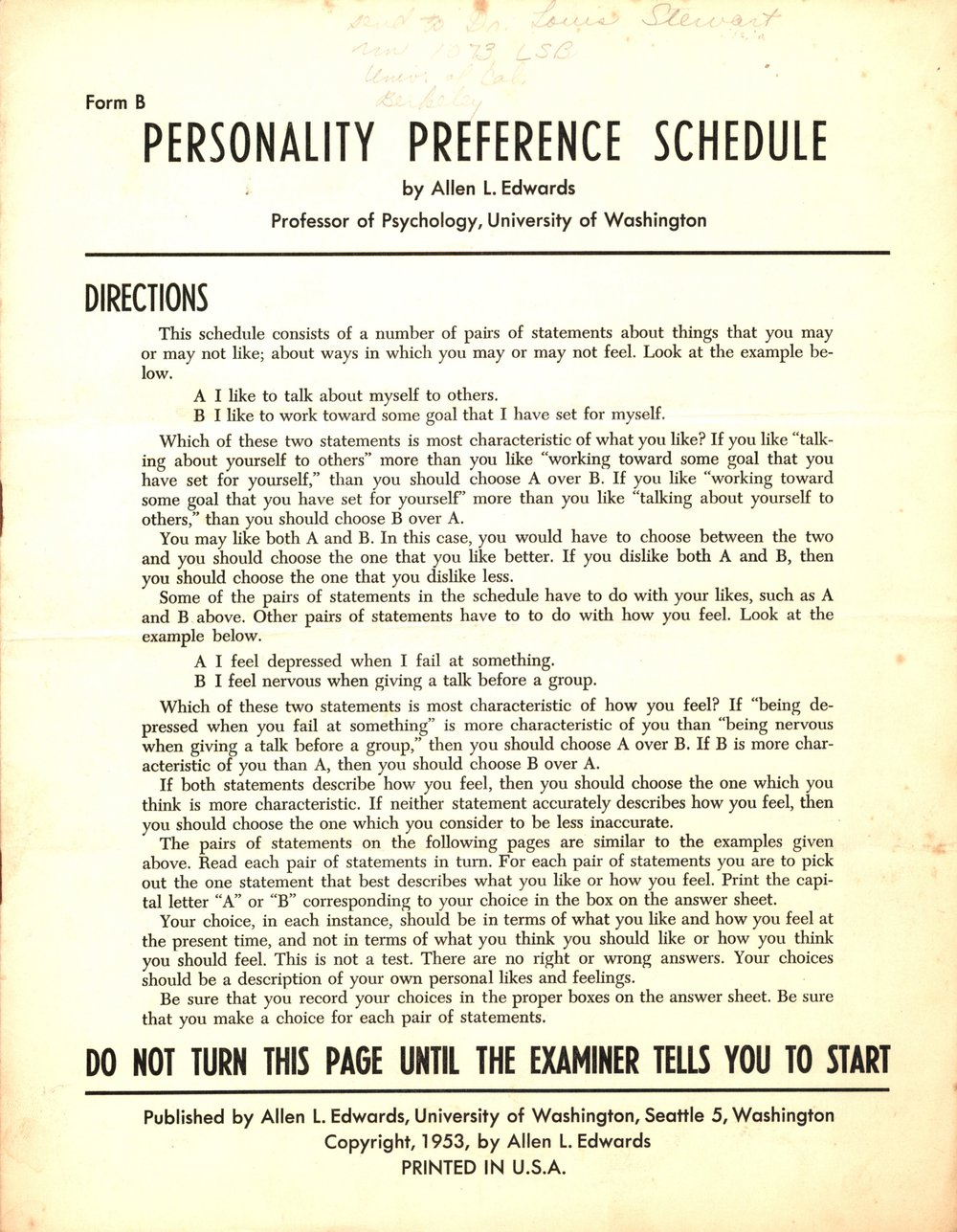 Personality Preference Schedule (1953)