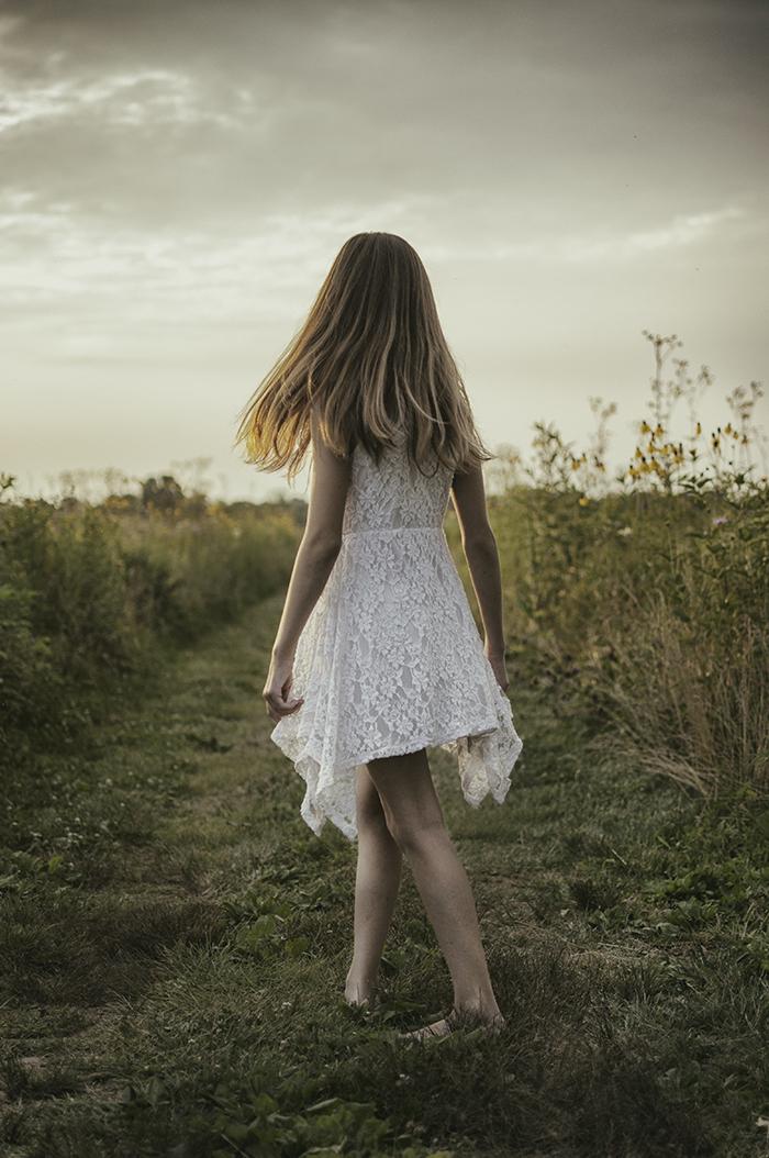 Girl Young Adult Grass Sunlight Long Hair White Dress Photograph
