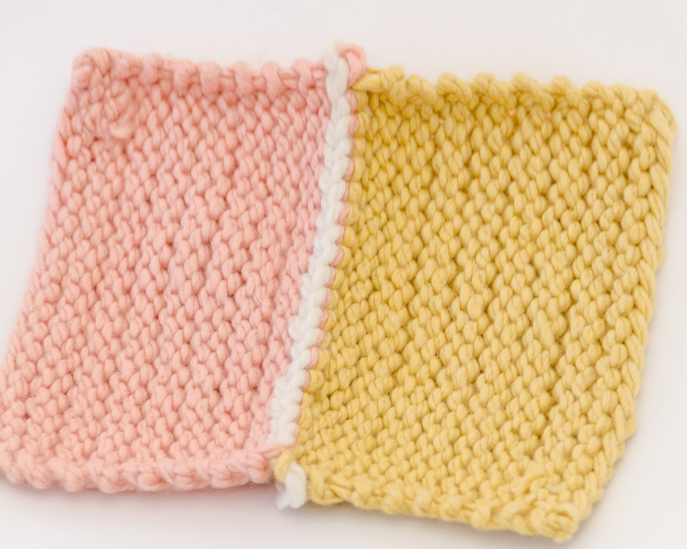 7. *Knit together a stitch from the front and back needles, and slip the first stitch over the second to bind-off.  Repeat from * across, then fasten off last stitch.