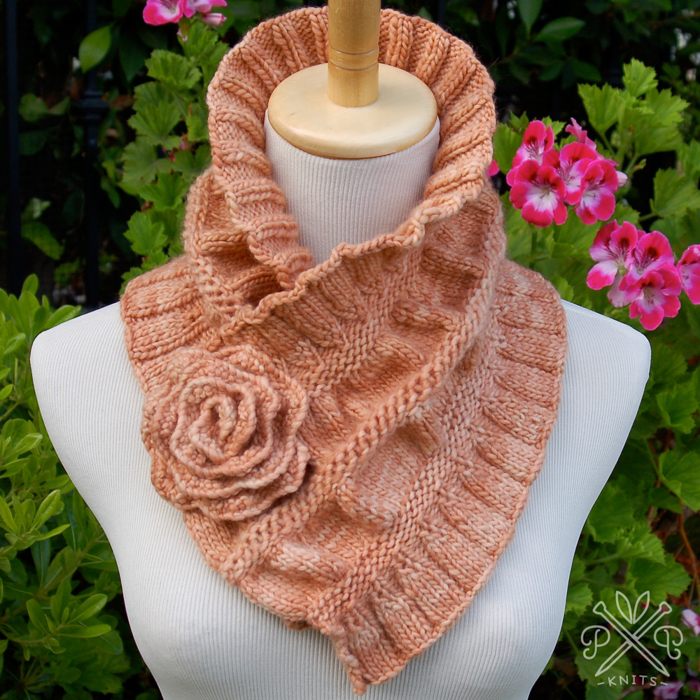 Infinity Scarf Knitting Pattern Size 8 Needles : Ruffled & Ruched Scarf   Pam Powers Knits