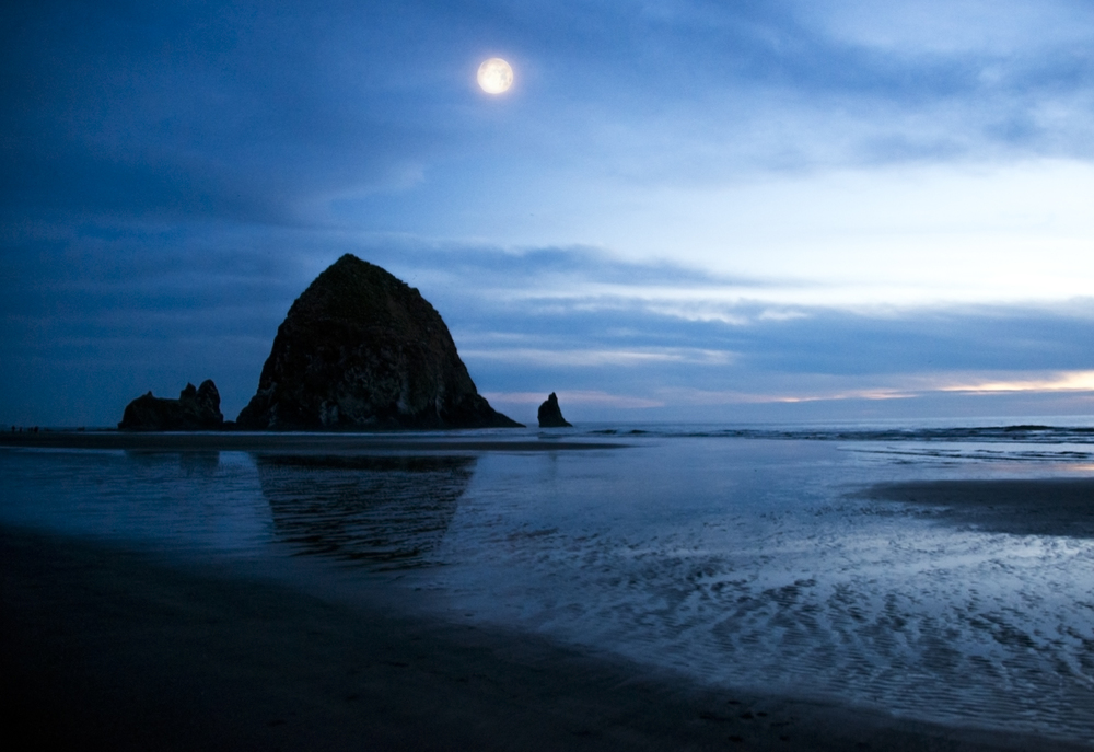Moon over Canon Beach