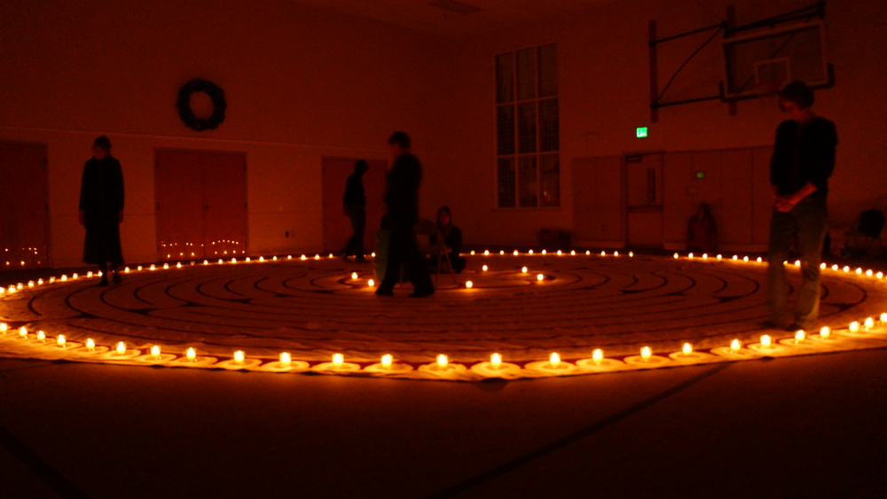 The Labyrinth with candles at Christmas.