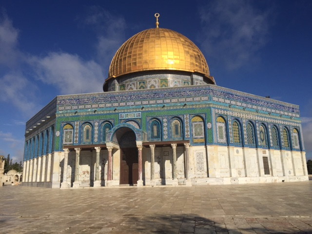 Dome of the Rock on the Temple Mount on a beautiful morning after a cleansing rain