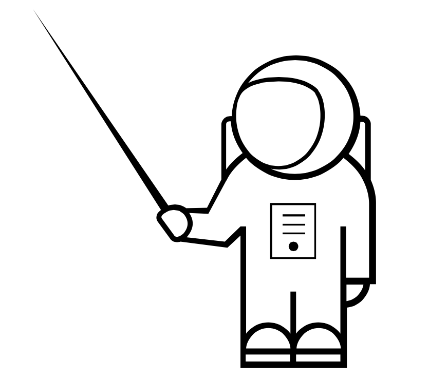 astronaut teaching with a pointer