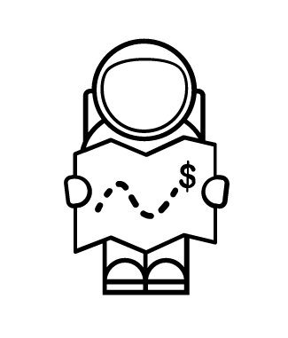 astronaut icon holding a treasure map dollar sign