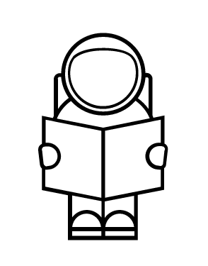 astronaut icon reading a book