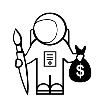 astronaut icon holding a paint brush bag of money