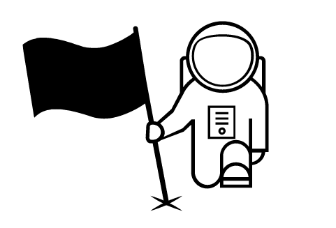 astronaut icon planting a flag kneeling