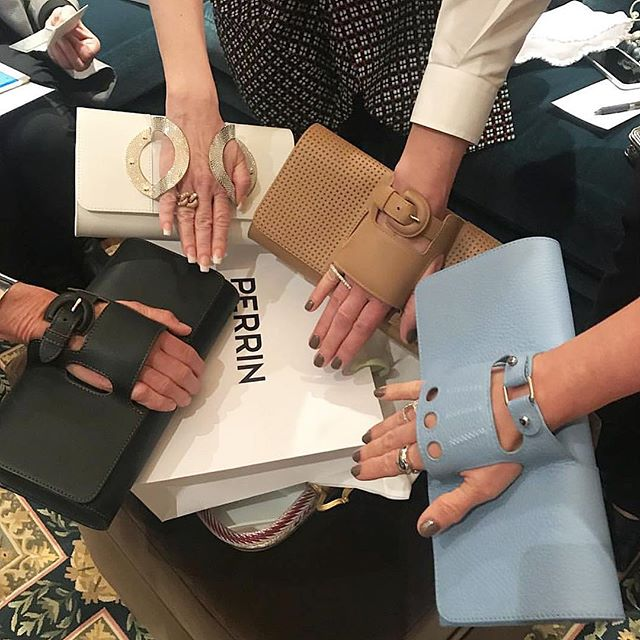#regram from ACI Haute Couture member @jennifercarmer of guests trying on the amazing @perrinparis clutch glove! Amazing event - thank you @lynnelovehb, Martha Martin, @perrinparis, @dennita_sewell and all those who attended.