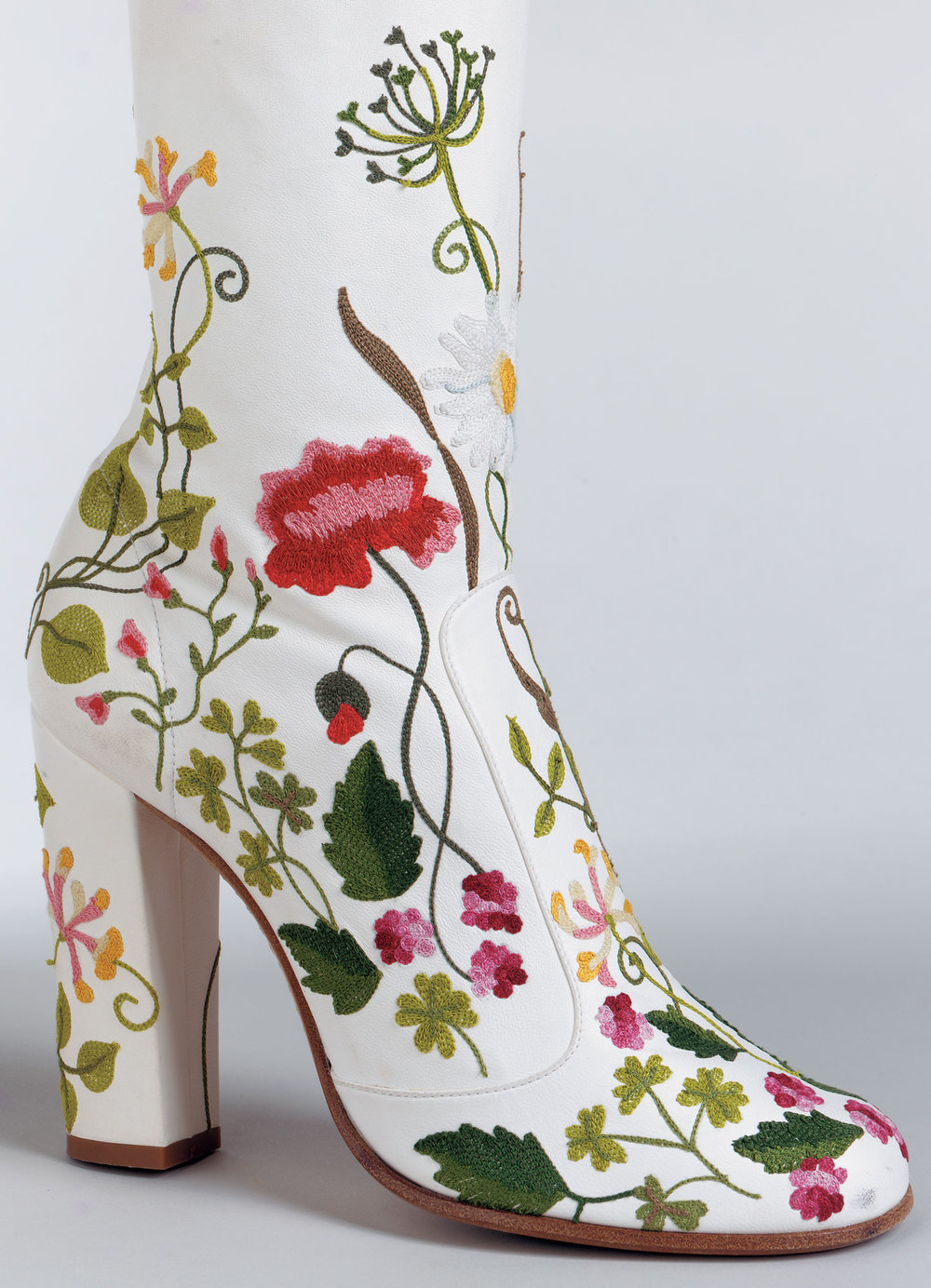 Marc Jacobs,  Pair of boots  (detail), 2002. Leather with silk floss embroidery. Collection of Phoenix Art Museum. Gift of Arizona Costume Institute and Ardie and Steve Evans.