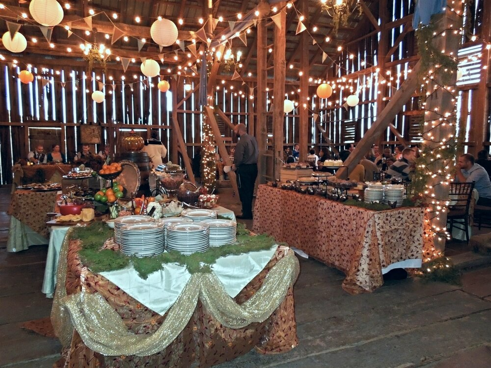 A wedding inside the historic barn