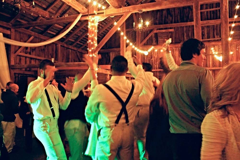 A wedding reception in the historic barn
