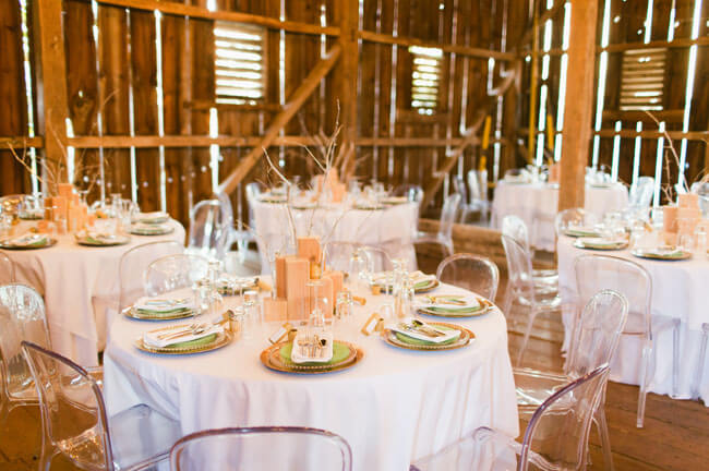 Copy of rustic table details with clear chairs