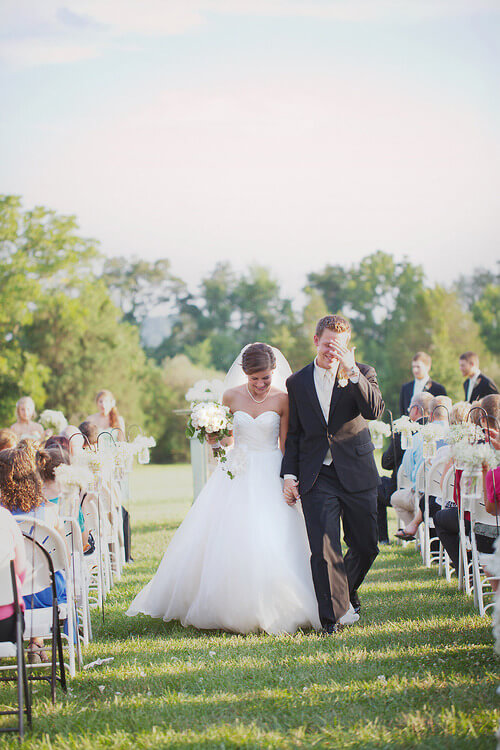 Copy of Bride and Groom walking down the aisle outdoors in Gettysburg, PA