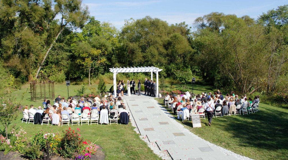The Wedding Garden and Pergola outdoor wedding venue at Battlefield Bed and Breakfast Inn, Gettysburg, PA