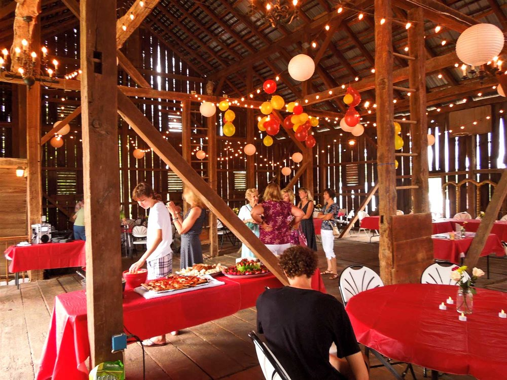 Birthday Parties - This is an eightieth birthday party in the barn. Our barn venue can hold up to 140 guests and is available May-October. We love hosting fun celebrations of all kinds. Talk to us about your special event today!