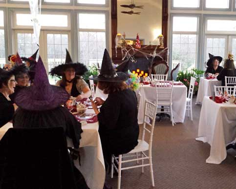 Get in the Holiday Spirit - Get creative. Craft your own spooky Halloween holiday party and add costumes for even more fun! These ladies are having a Halloween themed party with fun Witch hats in the Solarium Event Venue. Talk to Debbie March, our event coordinator, today and get started on your own unique seasonal celebration.