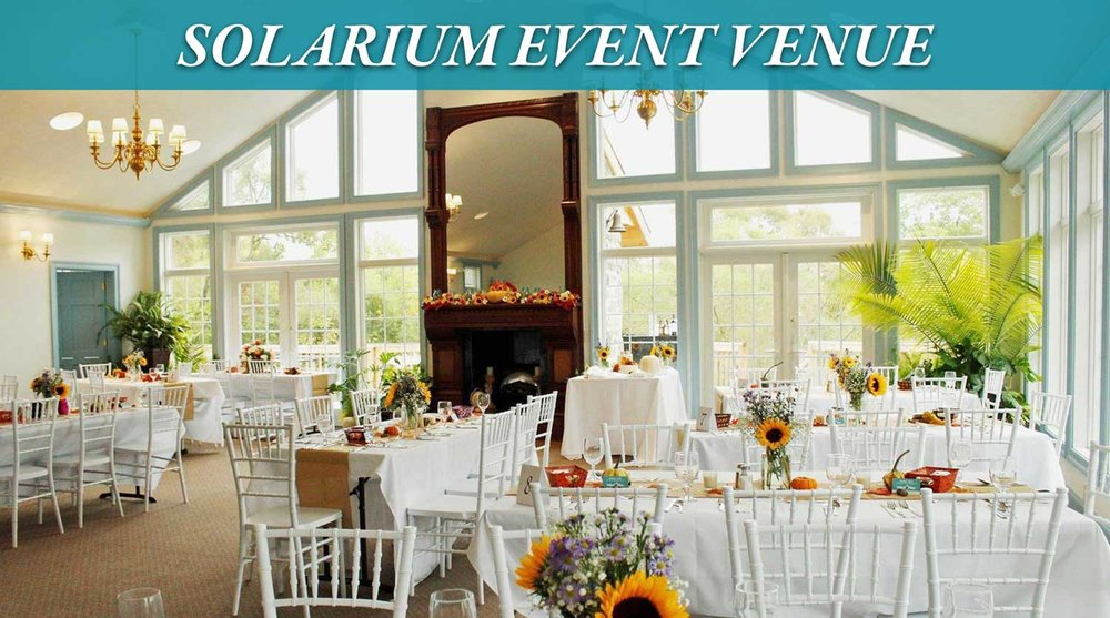 The Solarium Event Venue set up for a Wedding reception at Battlefield Bed and Breakfast Inn, Gettysburg, PA