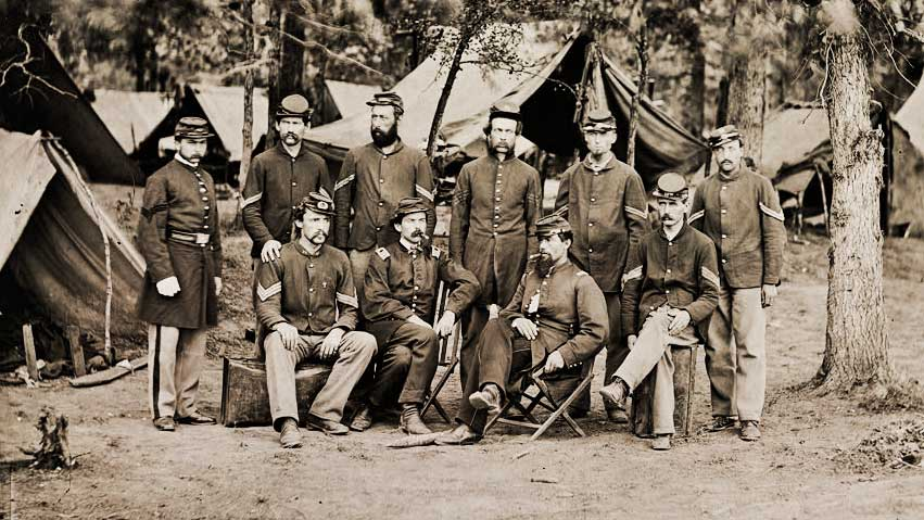 Confederate Soldiers in a Confederate camp