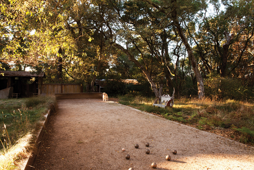 The site includes a regulation gravel bocce court.