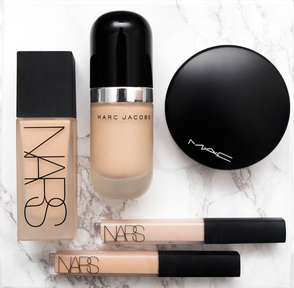 nars all day luminous weightless foundation  £34   her , marc jacobs reMARCable foundation  $55   her , nars radiant creamy concealer  £23   her , mac mineralize skinfinish natural  275 kr   her