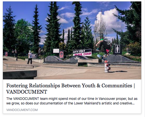 VANDOCUMENT 2017                                         http://vandocument.com/2017/05/fostering-relationships-between-youth-communities/