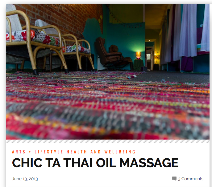 NORTHSIDER NEWSPAPER 2013                      http://thenorthsider.com.au/chic-ta-thai-oil-massage/