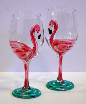 You can paint flamingos or you can paint whatever you'd like!  We provide plenty of instruction.  Each person paints two wine glasses.
