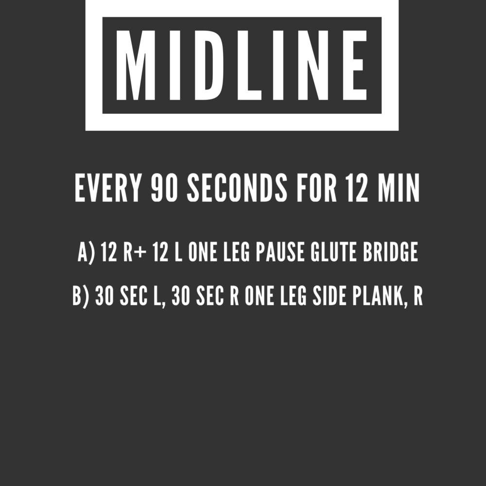 ***2 count pause @ top of each glute bridge   ***side plank is groin work - if you cannot hold for 30 sec, then get as much time as possible for each set.
