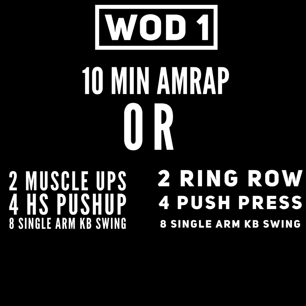 """Ring row is all the way to """"support""""  Push Press @ 95/65  KB @ 55/35 (4 each arm) L3: 70/55 all swings are Russian style height and do not have to alternate."""