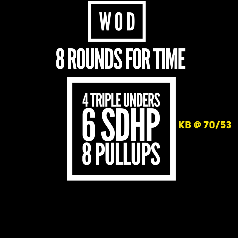 Jump Rope - no more than 8 attempts at triples.  If your struggle is Double Unders, then do those, no more than 8 attempts. Single Unders not counted, only attempts at the doubles or triples.