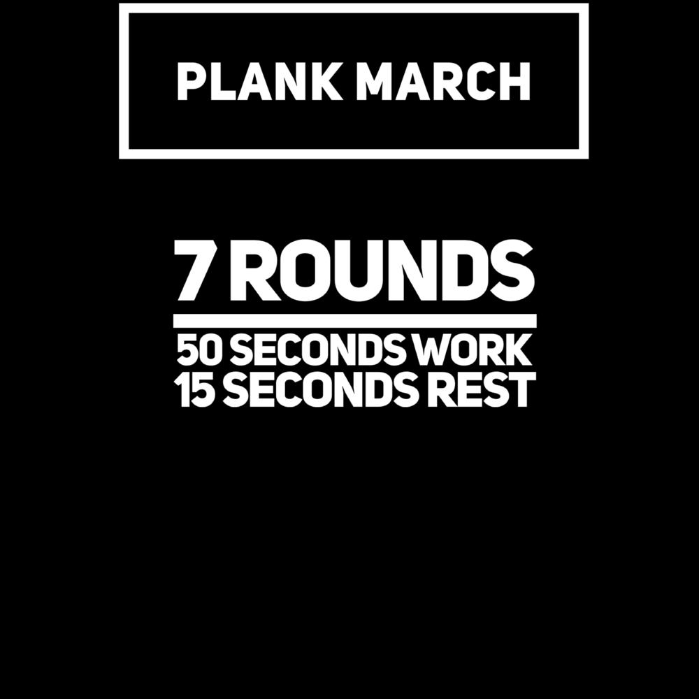 Plank March is while moving a dumbbell that is 50/30