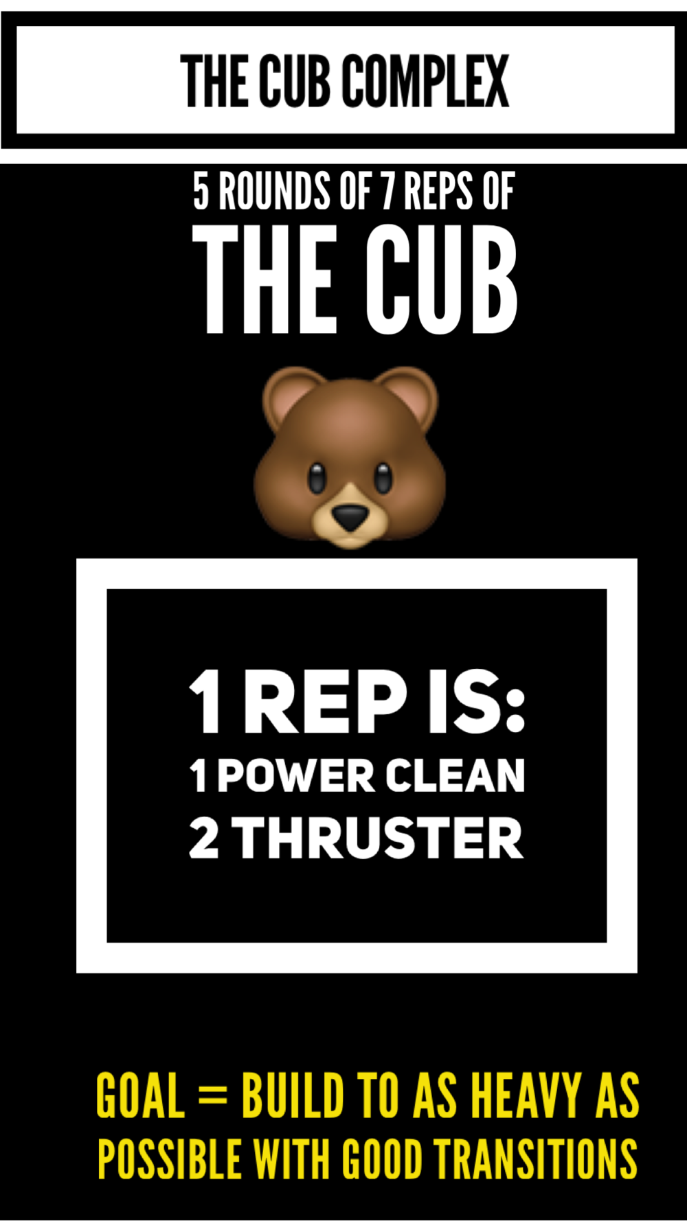 Regrips at the floor are allowed. All newer athletes and anyone uncomfortable bringing the bar down behind the neck should challenge themselves with the cub complex.
