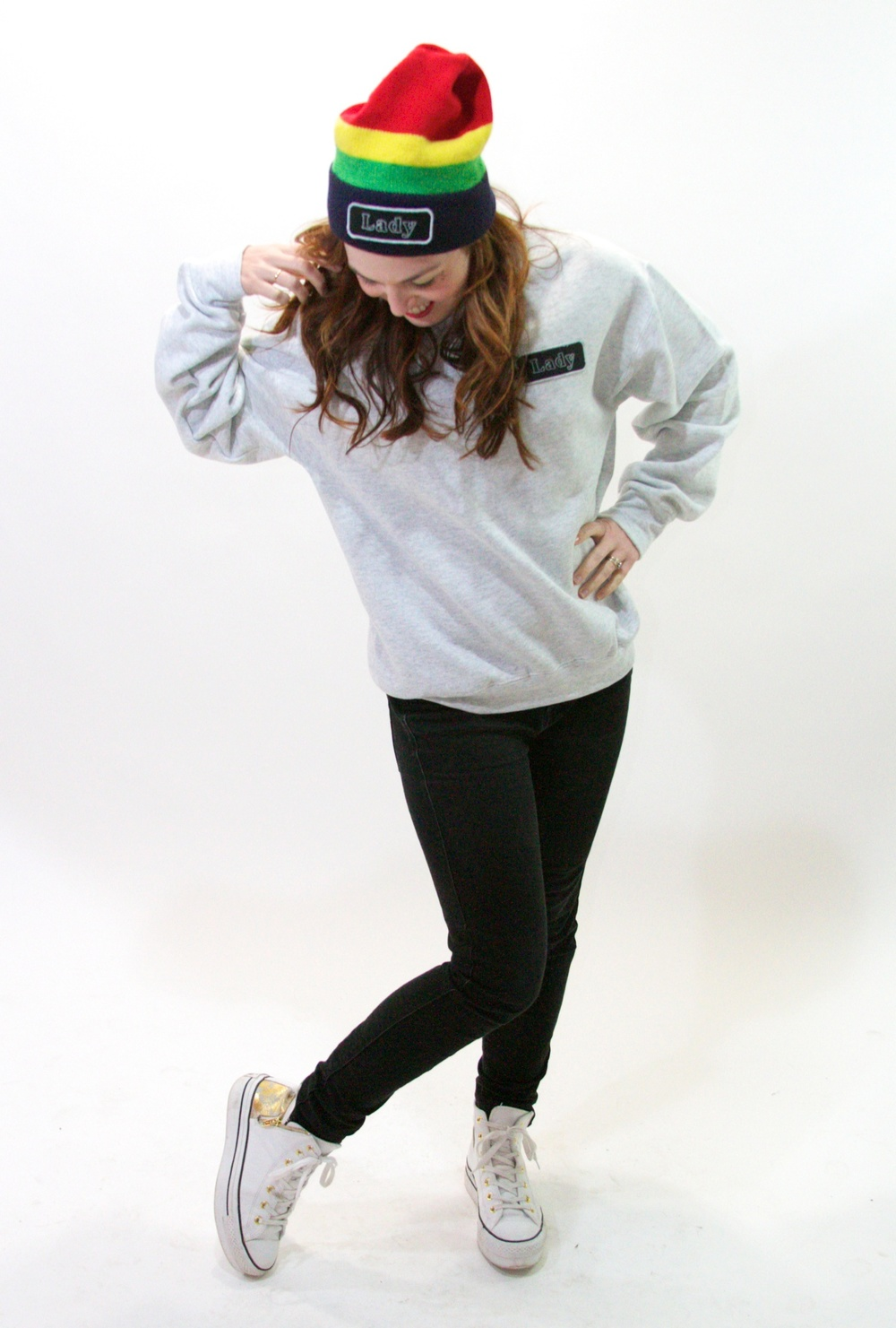 Rainbow Lady Beanie $22, Grey Lady Sweatshirt $25