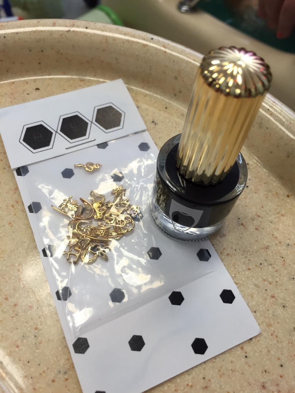 DIY Mani -with  Hex nail charms  $1.00-$2.95 ea. )&  Flossgloss  vegan polish ($8),