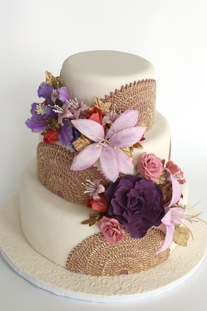 Henna Inspired Floral Wedding Cake Village Cakecraft