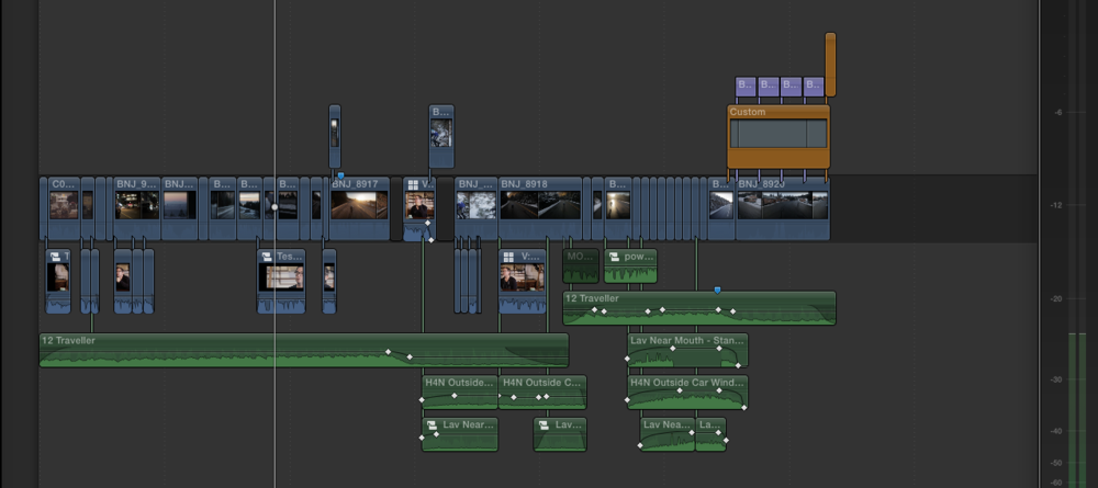 Screenshot of film timeline. Mixing several sound layers to help put the viewer in the scene.