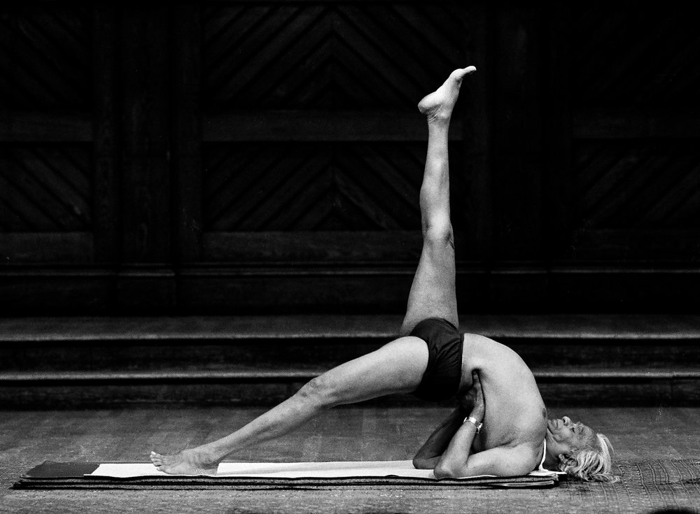 Images: B.K.S. Iyengar at Yoga '87, Harvard University, 1987, photos by Peter Schweitzer