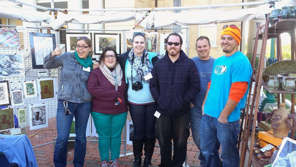 Our trusty crew of BRCC artists (and department head)! Left to right: Shannon Davis, Morgan Lovell, Sasha Lieberman, John Ellwood, Aaron Bernard, and Cherokee Ducker