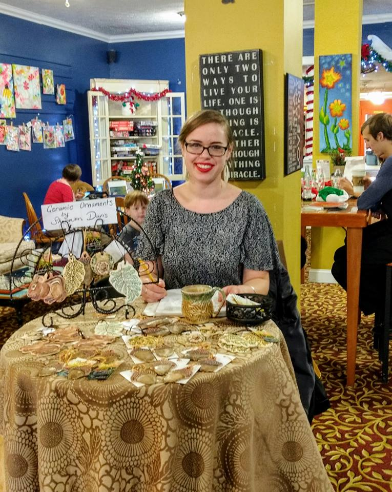 Set up at Jongo Java Coffeehouse in Hendersonville, NC selling handmade stoneware ornaments at the 2nd Annual Handmade Holiday Market.