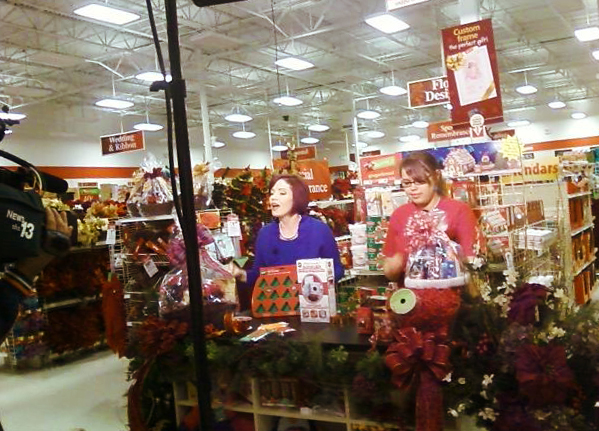 Victoria Dunkle and I on a segment about making Holiday Gift Baskets, Dec. 2, 2011. I made all of the decor and arrangements in this photo!