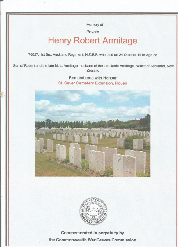 In memory of Private Henry Robert Armitage who died 24 October 1918, aged 28.  One of the men in whose memory St David's was built.