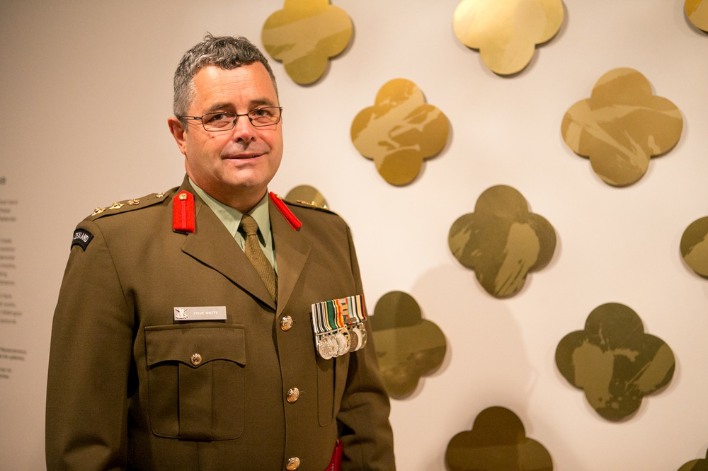Colonel Steve Watts represents the NZDF at the unveiling of The Art of Remembrance. Photography by Michael Hall copyright Te Papa Tongarewa.
