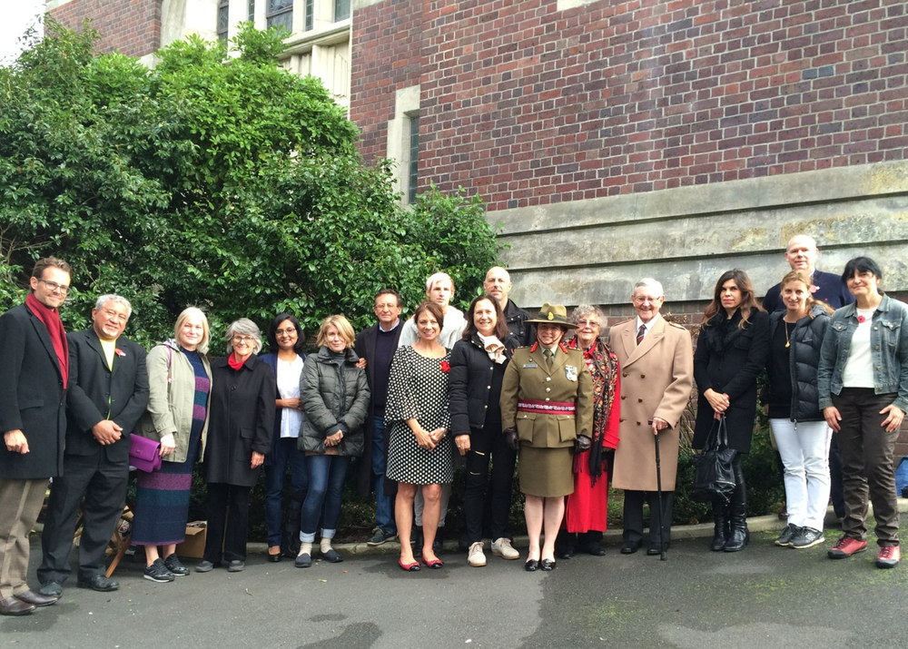 St David's, ANZAC Day 2016.  An impromptu gathering of those who came to Remember Them and to pay their respects at St David's, the Soldiers' Memorial
