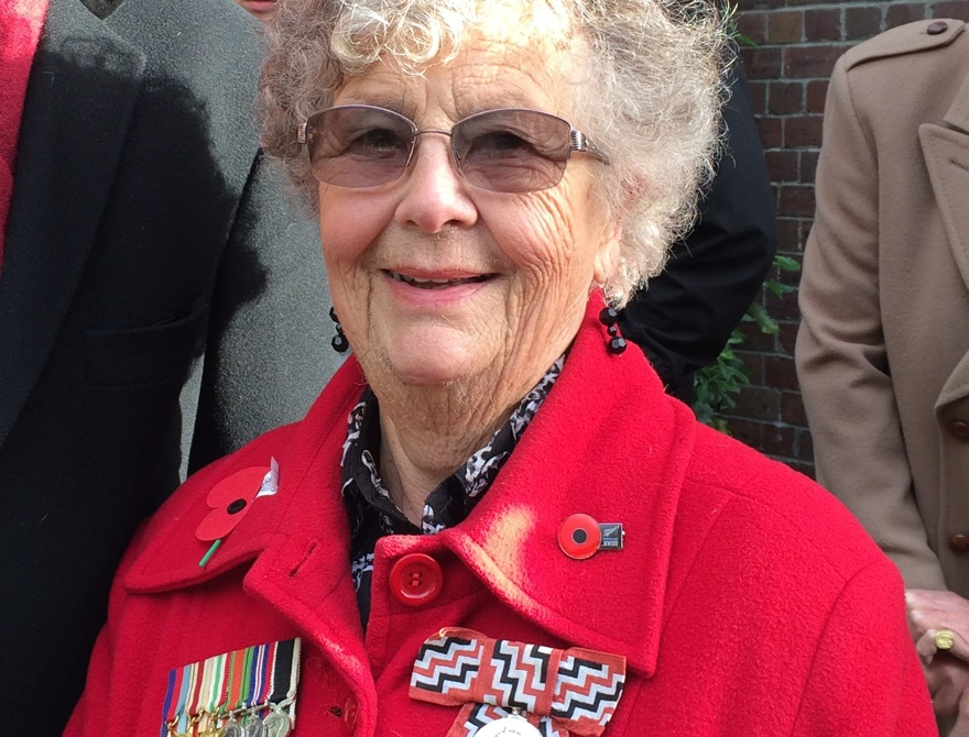 Lorraine Wilson wears the medals of her father, Sapper RNZE.  St David's is home to the Sappers' Memorial Chapel.  St David's, ANZAC Day 2016